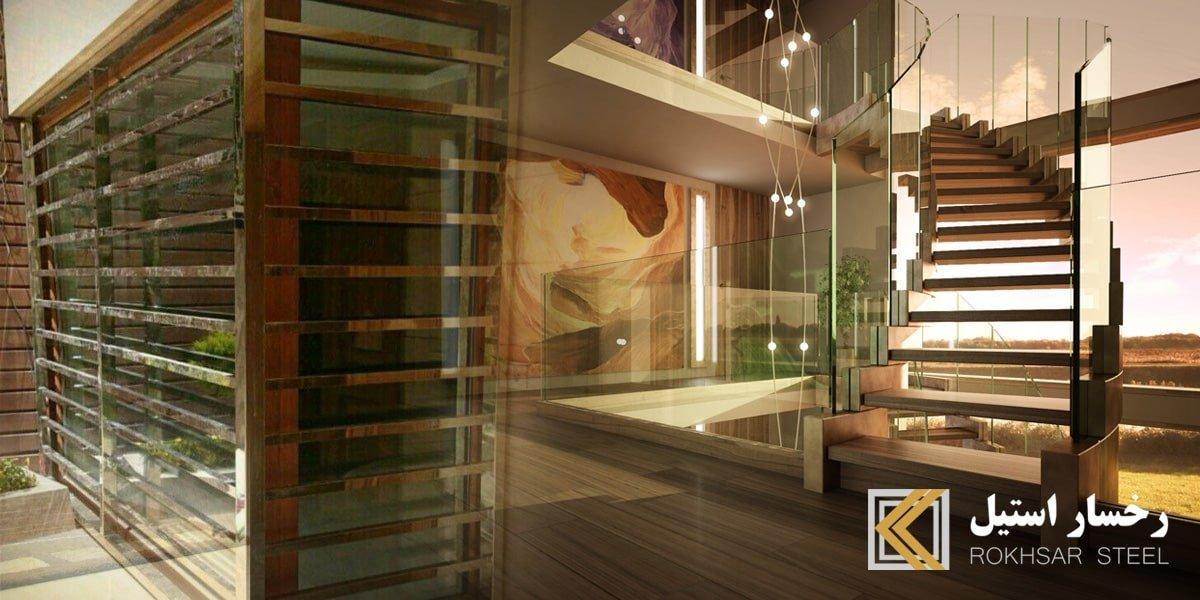 شرکت رخسار استیل: طراحی، پیاده سازی و نصب نرده استیل، نرده استیل درب و پنجره (حفاظ استیل یا حفاظ بانکی)، درب استیل، کاور استیل، قوطی استیل و پله پیش ساخته شیشه، پله استیل، چوبی، PVC کاشی استیل