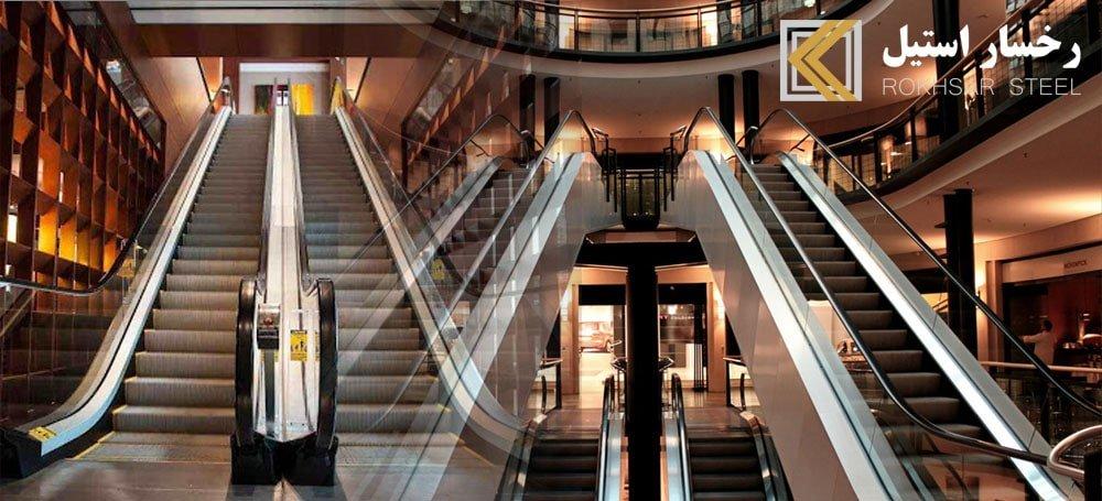 ورق پله برقی، ورق کاری پله برقی، پوشش پله برقی، استیل بدنه پله برقی